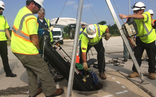 Water utility officials in Arlington, Texas, are utilizing a robotic system to study sewer pipes for signs of internal defects. Photo courtesy of City of Arlington.