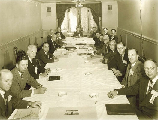 NACE officers meet at the 1948 annual conference held in St. Louis, Missouri.