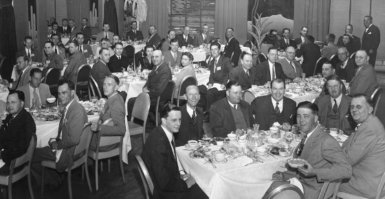 Attendees at the inaugural NACE annual conference in 1945 enjoy the first of many annual banquets.
