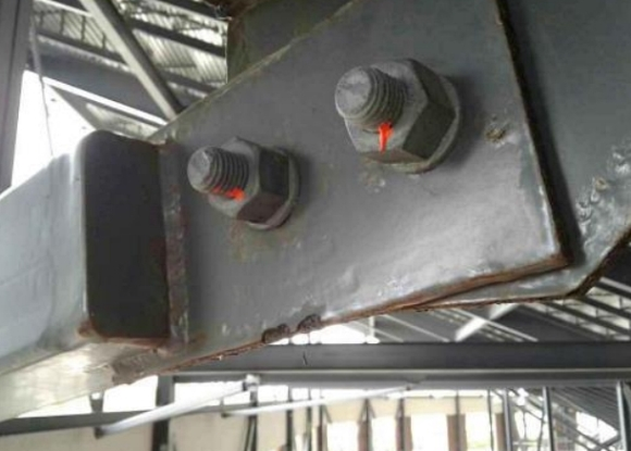 Corrosion was found around connecting areas of the stadium supports due to a lack of caulking. Photo courtesy of TLC Engineering.