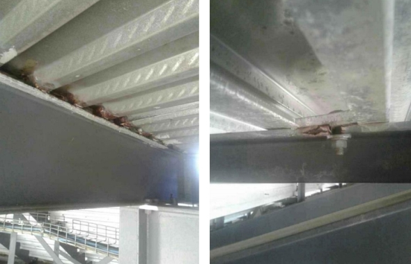 Crevice corrosion was found underneath walkways and seating areas due to moisture intrusion. Photo courtesy of TLC Engineering.