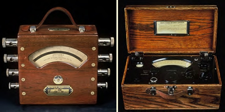 Left, the Western Electro-Mechanical Co. Portable AC Ammeter. Right, the Weston DC Millivoltmeter Model 622.