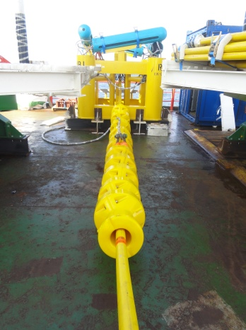 Each anode sled is a high-capacity ICCP system. Impressed-current coated-titanium anode rods are enclosed in the blue buoyant floats. Photo courtesy of Deepwater EU.