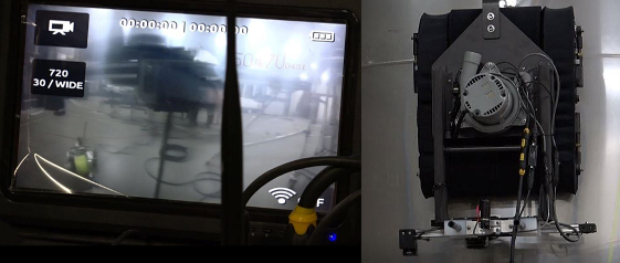 Left, the view from the camera. Right, the camera attached to the front of the robot. Photos courtesy of Quasset.