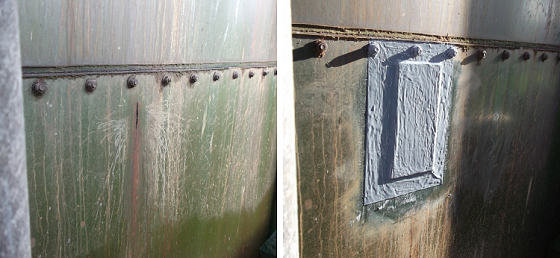 Plate bonding on a tank using an epoxy adhesive, before and after. Photo courtesy of Belzona.