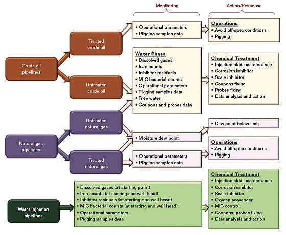 FIGURE 1 Categories of pipeline services, corrosion monitoring, and action for corrosion prevention.