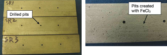 Type 316 SS coupons with drilled holes and pitting (left). A close-up of a coupon surface showing the pits created with a FeCl3 solution (right).
