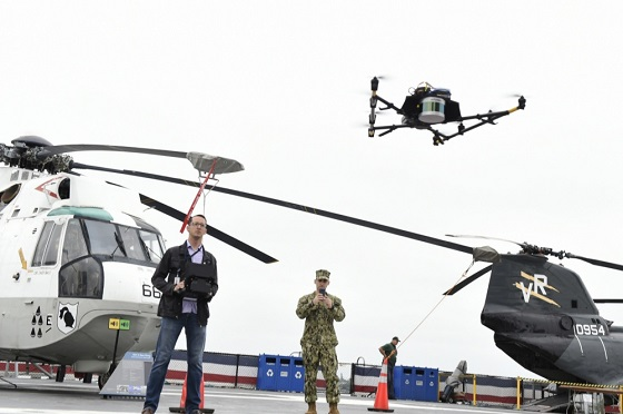 At the June 2019 demonstration event, Dan Jennings operated the UAV remotely above the USS Midway Museum. Photo by Bobby Cummings, U.S. Navy.