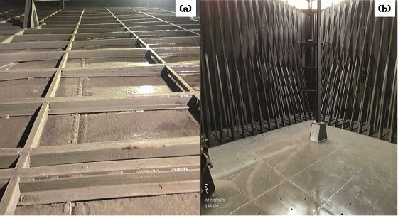 FIGURE 3 After blasting (a) and food-grade epoxy painting (b).