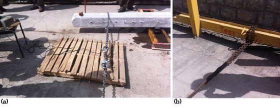 FIGURE 2 (a) Dynamometer for measuring bending force, and (b) the other end of the steel puller chain is fixed in a stable and strong position.
