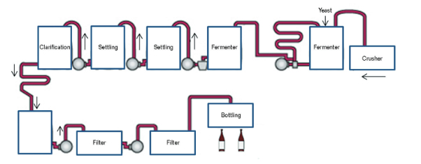 FIGURE 5 Wine production schematic diagram.