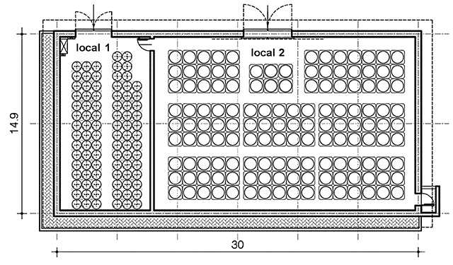 Figure 1: The floor plan illustrates how the temporary storage facility's space is divided into two rooms.