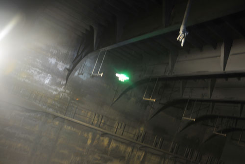 A UAV flies inside a cargo hold during a test inspection at Remontowa Shipyard. Photo courtesy of DNV-GL.