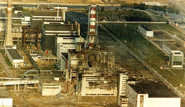 Taken in 1986, this aerial photo shows the destroyed Chernobyl reactor just after the accident. Photo courtesy of EBRD and Novarka.